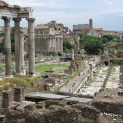 view of the roman forum in rome, https://upload.wikimedia.org/wikipedia/commons/0/0c/Roman_Forum.JPG