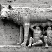 statue of romulus and remus breastfeeding from wolf, CellarDoor85, CC BY-SA 3.0 <https://creativecommons.org/licenses/by-sa/3.0>, via Wikimedia Commons