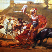 painting of the triumph of achilles, Painter: Franz Matsch (died 1942), CC0, via Wikimedia Commons
