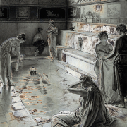 women bathing in a roman bath, Fortunino Matania, CC BY 4.0 <https://creativecommons.org/licenses/by/4.0>, via Wikimedia Commons
