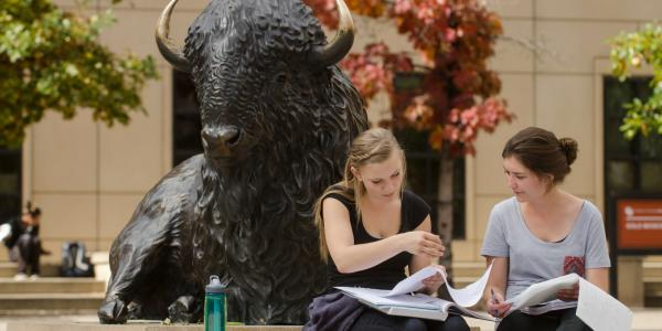 Students studying near Ralphie