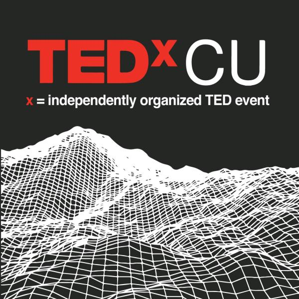 logo with TedxCu and graphic of soundwaves