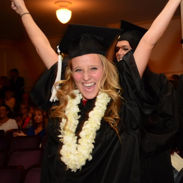 Student celebrates at commencement