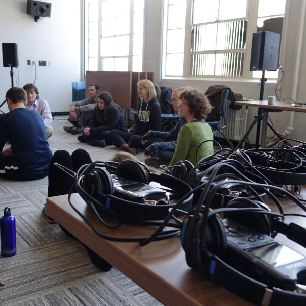 Helen Mirra holds a workshop in sound ethnography for DCMP students and faculty in February 2016.
