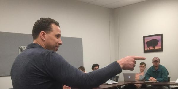 Former NFL linebacker and University of Colorado alumnusChad Brownspoke to the class about his career in sports broadcasting.