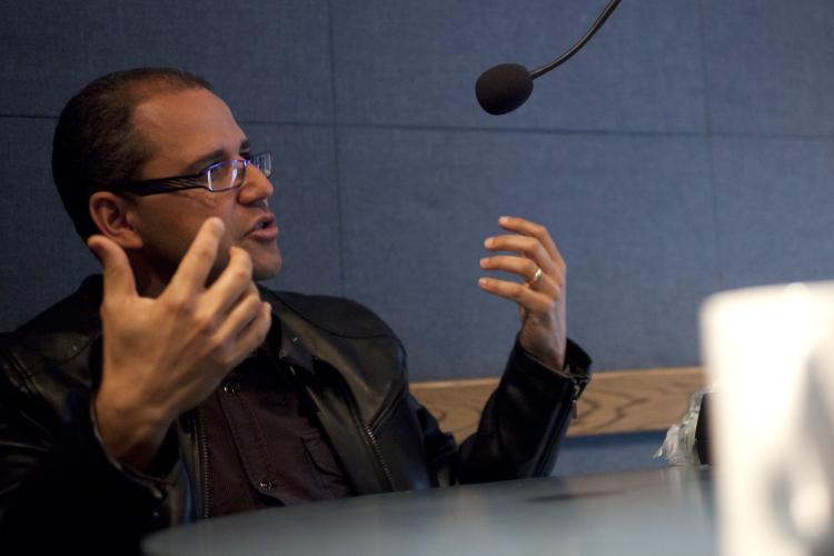Nabil Echchaibi speaks in a radio interview.