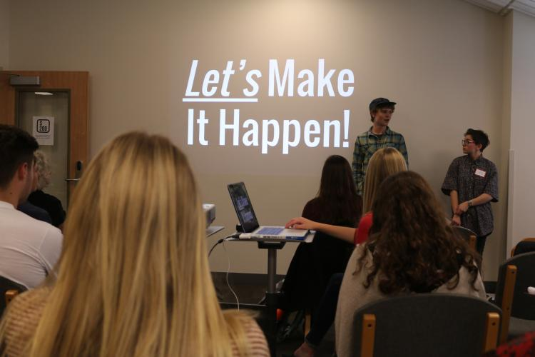 students present their re-brand project