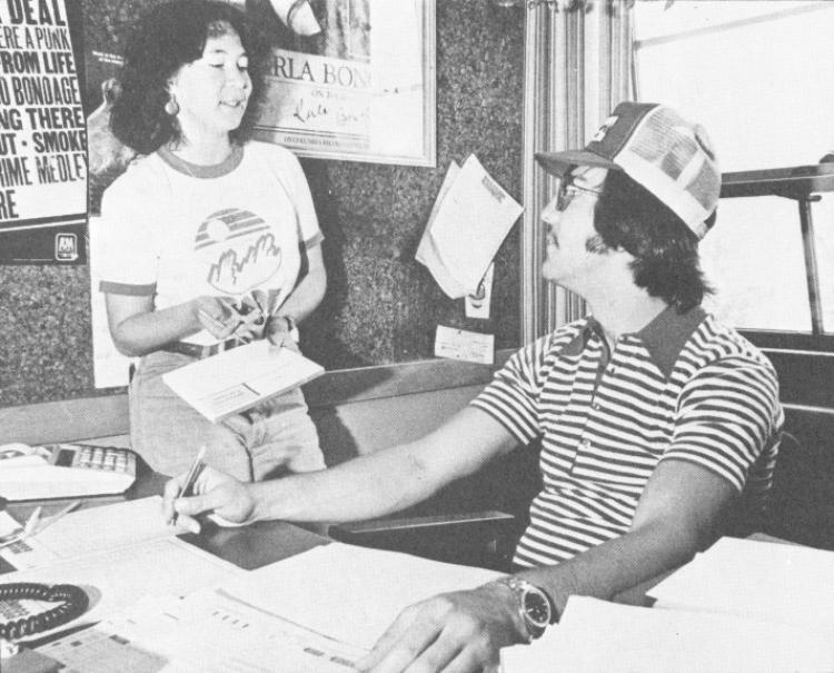 Wendy Kale talks with Nick Camillone in this photo from the University of Colorado 1979 yearbook. The pair worked together at the Program Council, a student-run organization that sponsored and promoted rock concerts and other events. Kale, who went on to become a longtime Colorado Daily music writer until her death in 2011, is being inducted Tuesday into the Colorado Music Hall of Fame.