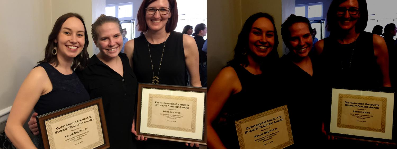 Three female grad students holding awards