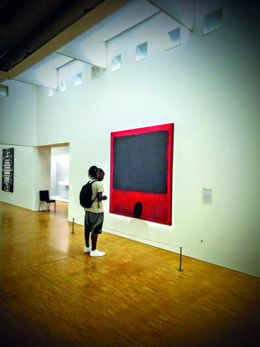 Assistant Professors Jolene Fisher  and Toby Hopp accompanied students on visits to nine strategic communications agencies in Paris over the summer for the International Strategic Communication Global Seminar. The group of 25 students visited cultural landmarks throughout the city, and in other areas of France and Belgium. Above, senior media design student Dream Brewer looks at a Mark Rothko painting at the Centre Georges Pompidou in Paris.