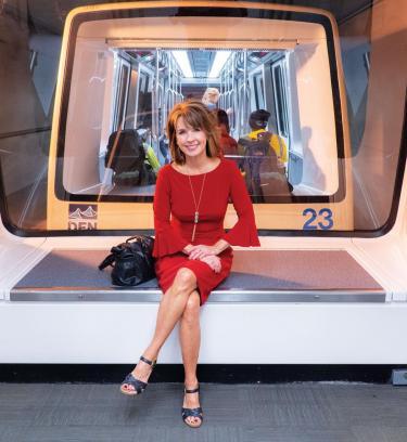 Photo of Kim on the DIA train.