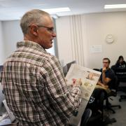 Students watch the Colorado U.S. Senate debate from the 9News newsroom.
