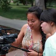 Students get familiarized with a video camera