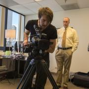 Students film for the documentary