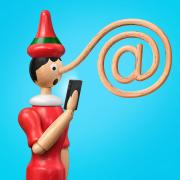 A pinocchio's nose is twisted into an @ symbol