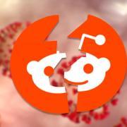 Reddit logo over coronavirus, cracked