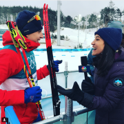 Abby interviews Olympic gold medalist Simen Kruger. Photo from her instagram.