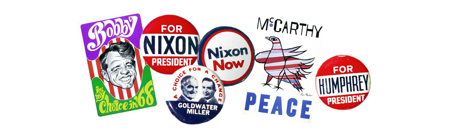 Old political campaign pins and trading cards