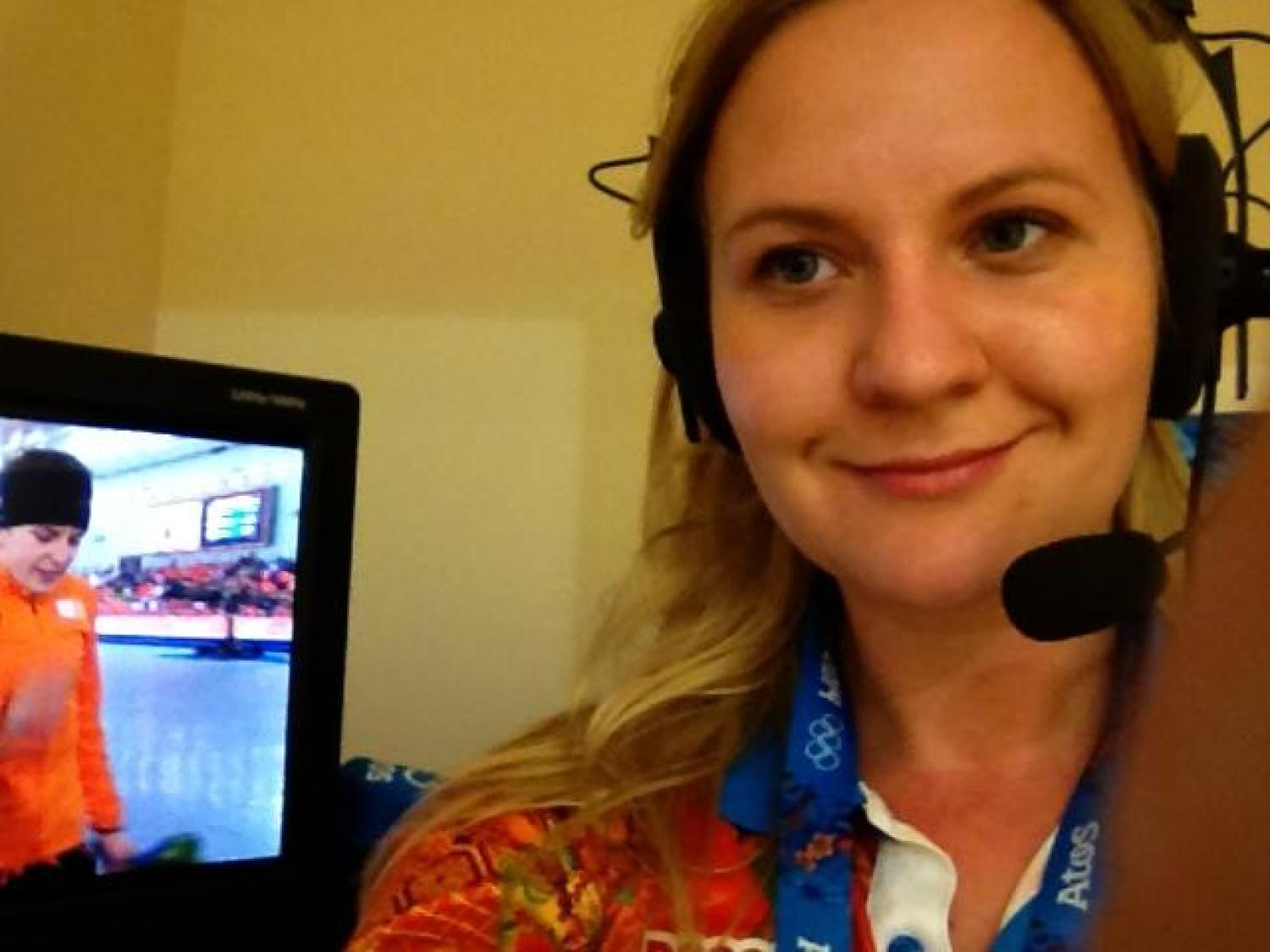 Reporting virtually from Berlin, Germany, Journalism Instructor Marina Dmukhovskaya is covering stories of athletes for the Olympic Channel, where she's a digital freelance writer.