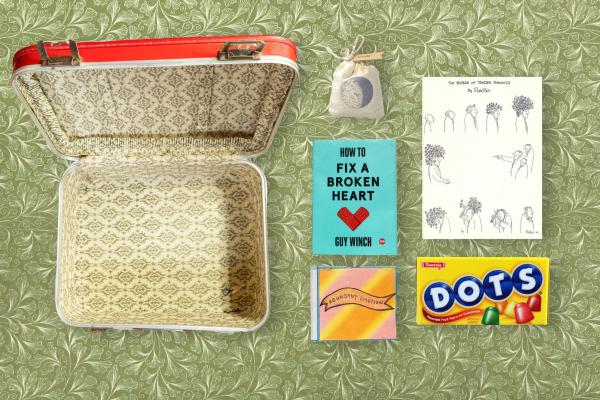 A vintage suitcase/survival kit for Julia's younger self.