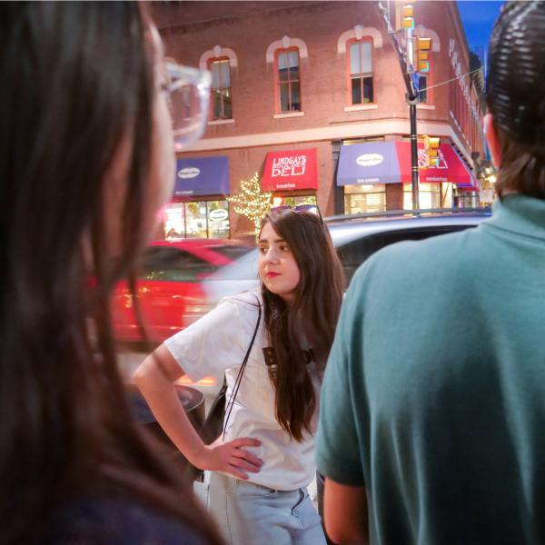 Student on Pearl Street.