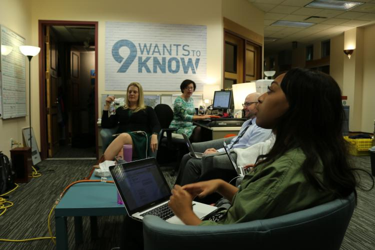 Alexandra Janney assists with live fact-checking during 9 News Denver's local election coverage.