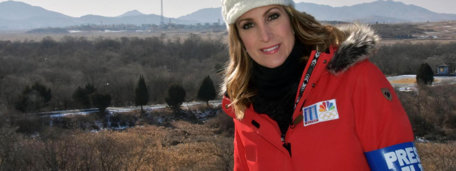 Preheim stands near the Demilitarized Zone, where she learned about the history of North and South Korea from soldiers stationed in the area.