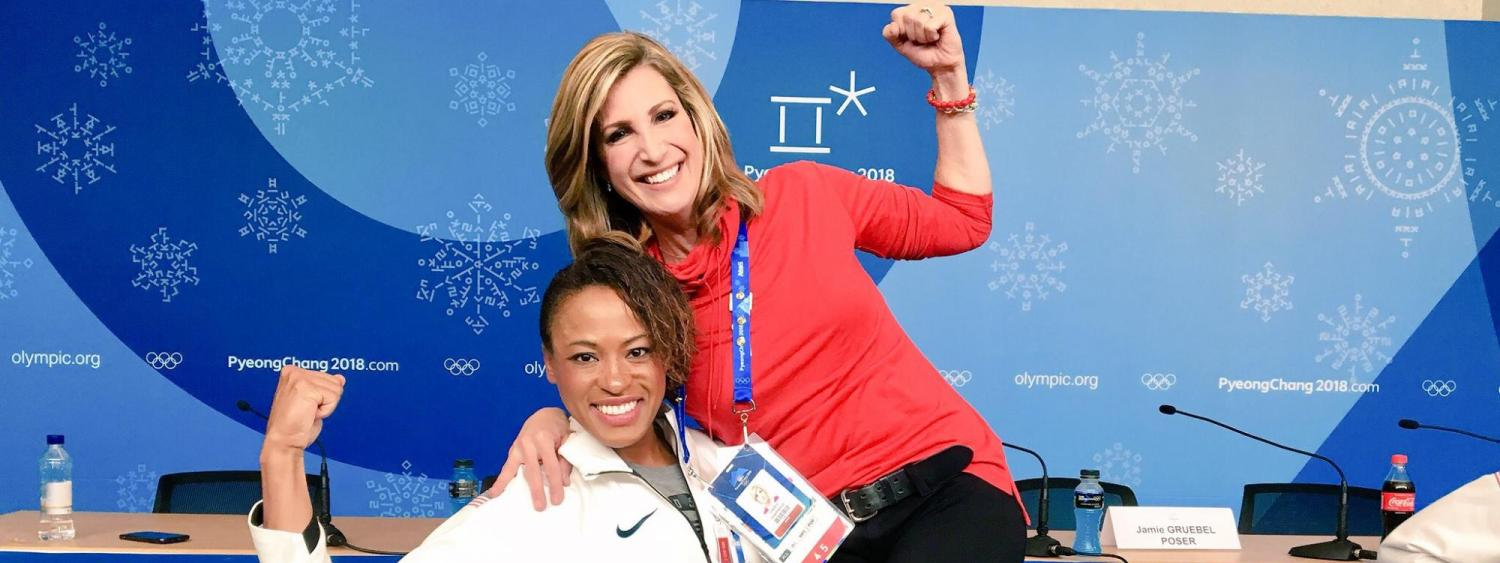 U.S. Olympic silver medalist bobsledder Lauren Gibbs give Preheim a lift at the Winter Games.