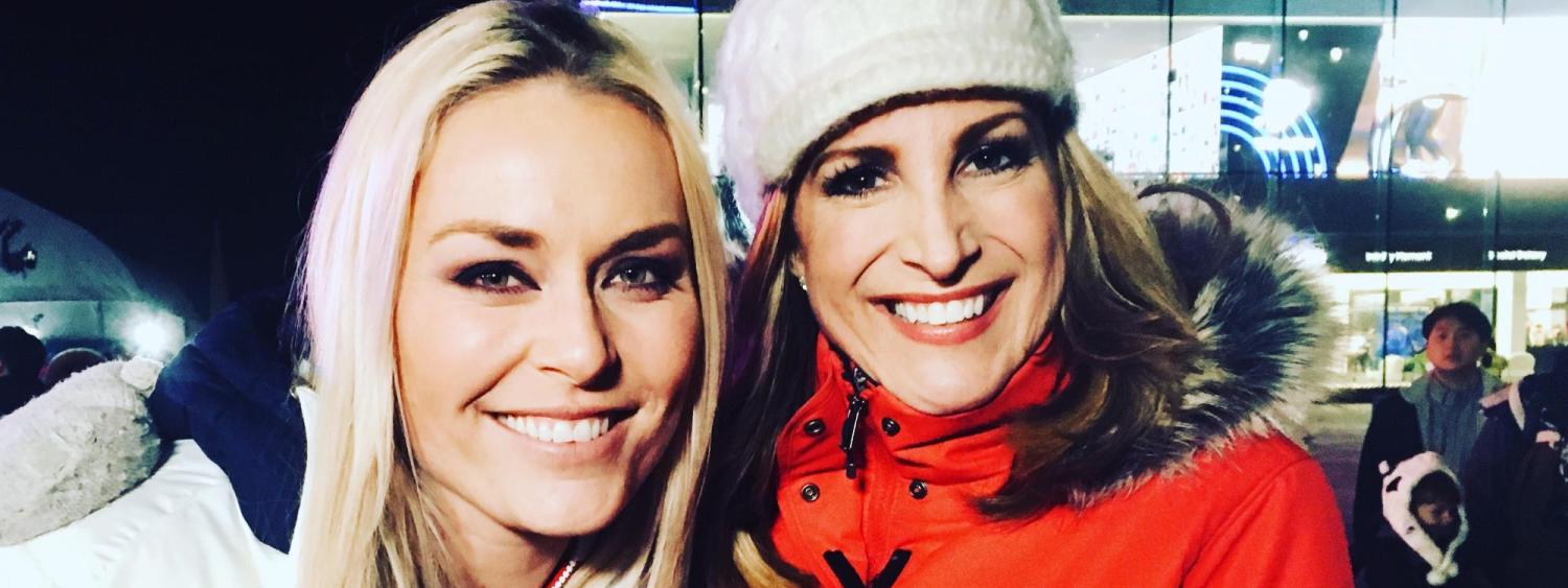 Cheryl with Lindsey Vonn, one of the most decorated skiers in history.