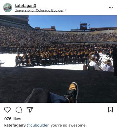 Kate Fagan's Commencement photo from her Instagram account, showing her sitting in front of the crowd.