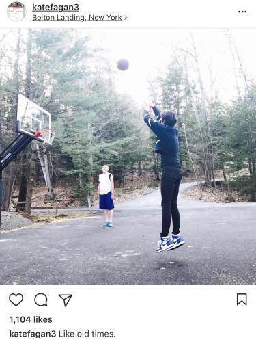 Fagan plays basketball with her father. Photo is from her Instagram account.