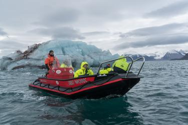 Members of the Arctic Frontiers team ventured out in boats to learn about the impact of rapid climate change on Svalbard's glaciers.