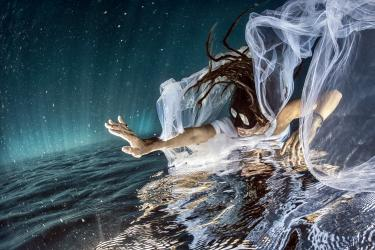 One of the experimental freediver-mermaid images. The challenges of underwater styling presented opportunities