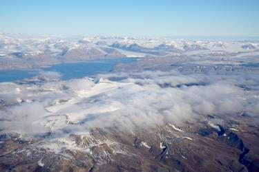 Another aerial view of Svalbard's vast Arctic wilderness.