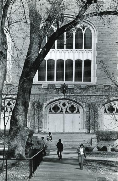Macky Auditorium, where the former J-school was housed, courtesy of Special Collections and Archives, University of Colorado Boulder Libraries.