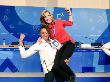Veteran reporter and news anchor Cheryl Preheim (Comm'95) is covering her fifth Olympics as an anchor for NBC affiliate 11Alive. Here. Preheim is pictured with bobsledder Lauren Gibbs at the 2018 Winter Games.