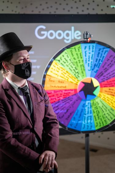 Next is the cyberchondria room. Inside you spin the wheel of fate where one of Taylor's roommates is the actor in the room guiding you to spin the wheel. The wheel of fate has all worst case scenarios to land on and in the background is a projector playing a video of someone Google searching for symptoms.