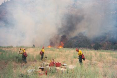 Jody Jahn (left) with other members of her fire crew near Price, Utah, in 2004.
