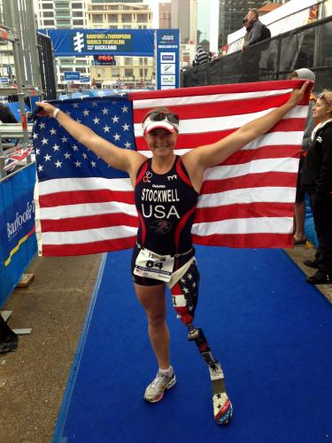 Paralympian, veteran and author Melissa Stockwell (Comm'02), is competing as a triathlete after two previous Games.
