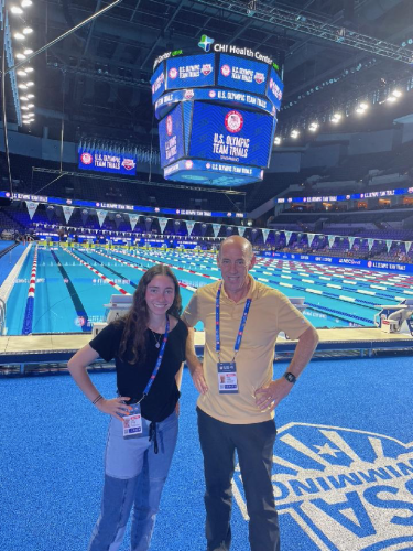 Television producer Peter Lasser (Comm'76)—who has covered 10 previous Games—recently captured the Olympic swimming trials in Omaha, Nebraska, alongside CMCI sophomore Abbie Snyder.