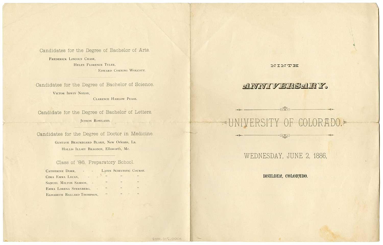 1886 Commencement program cover