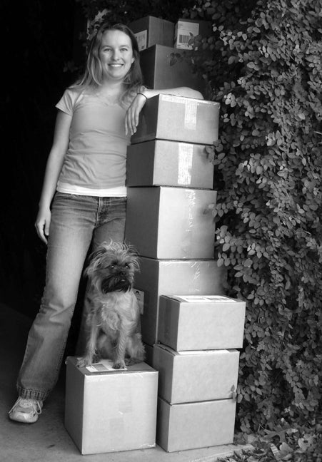 sarah with boxes