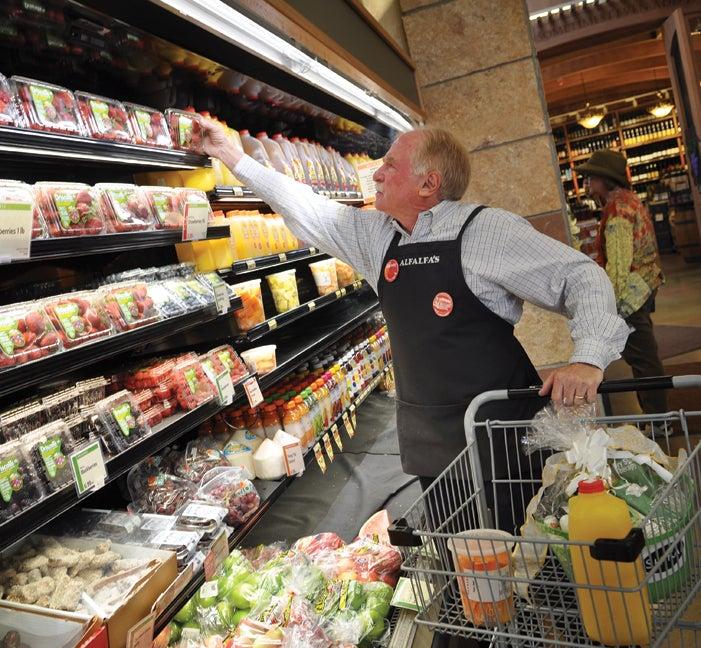 barney shopping the aisles at alfalfas