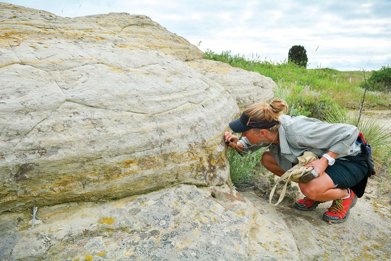 Erin Tripp looking at lichen