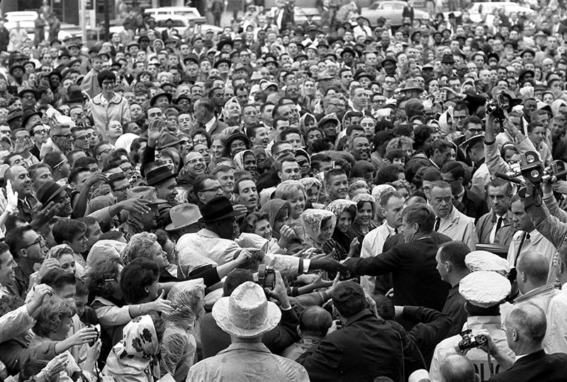 President Kennedy arrives at the Hotel Texas parking lot rally in Fort Worth, Texas, Nov. 22, 1963