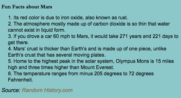 fun facts about mars chart
