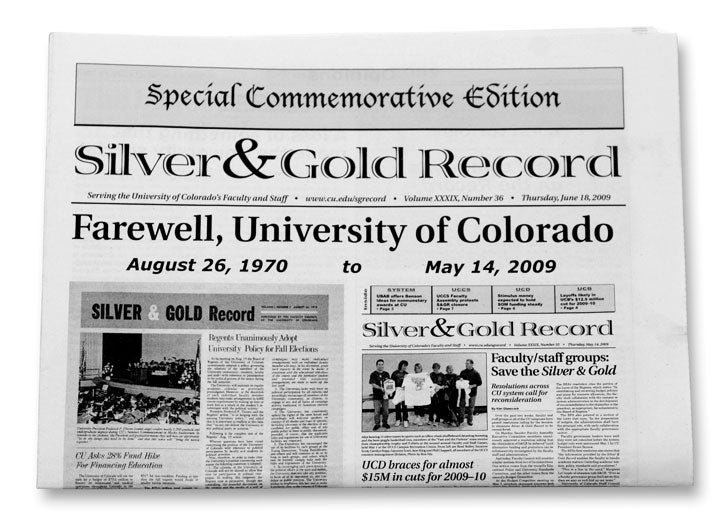 newspaper silver and gold cover