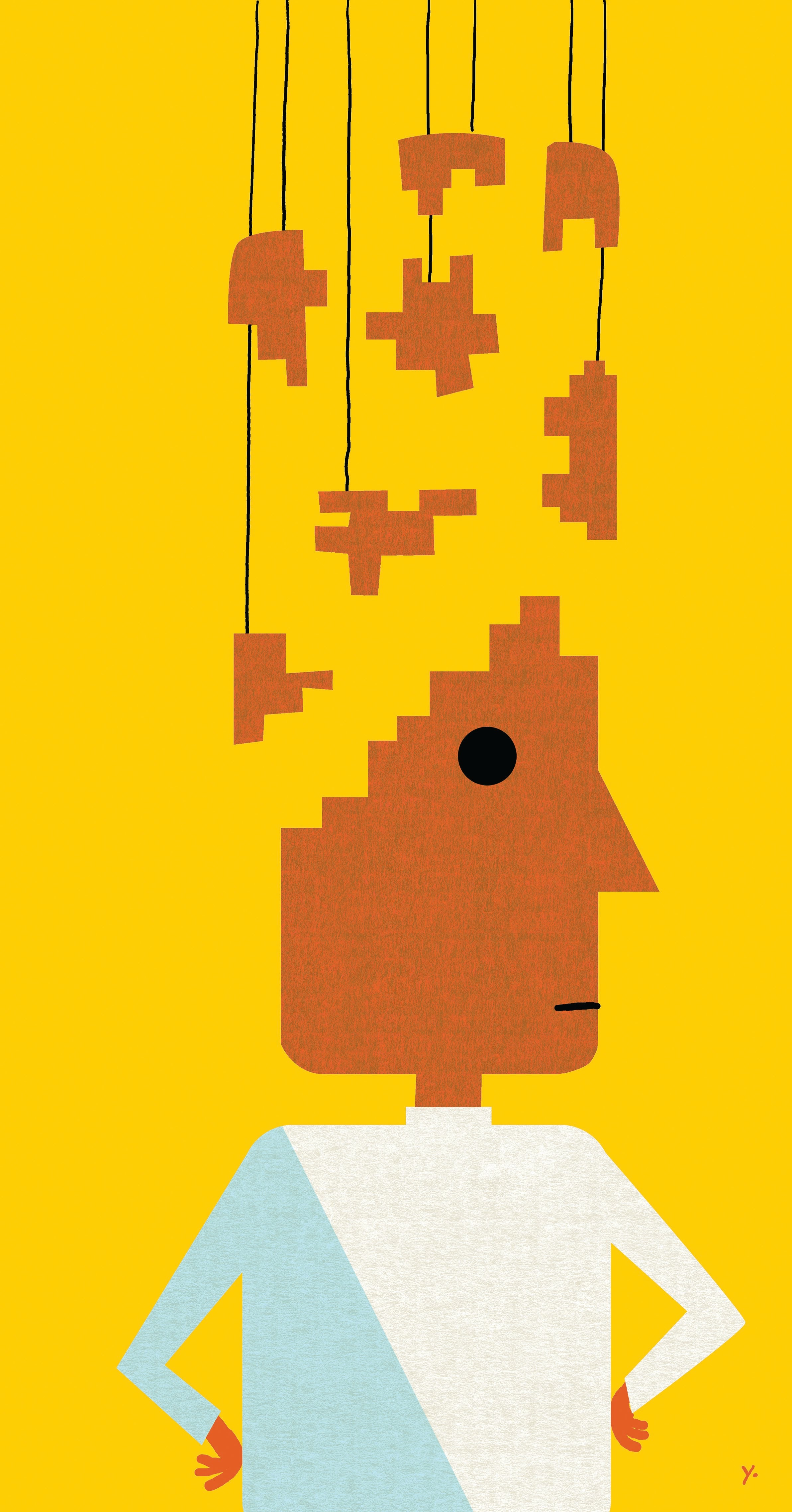 illustration of a leader with a tetris brain