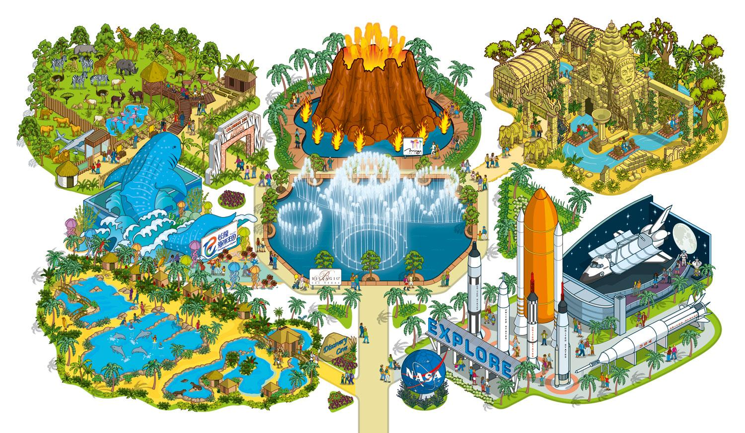 illustration of theme parks