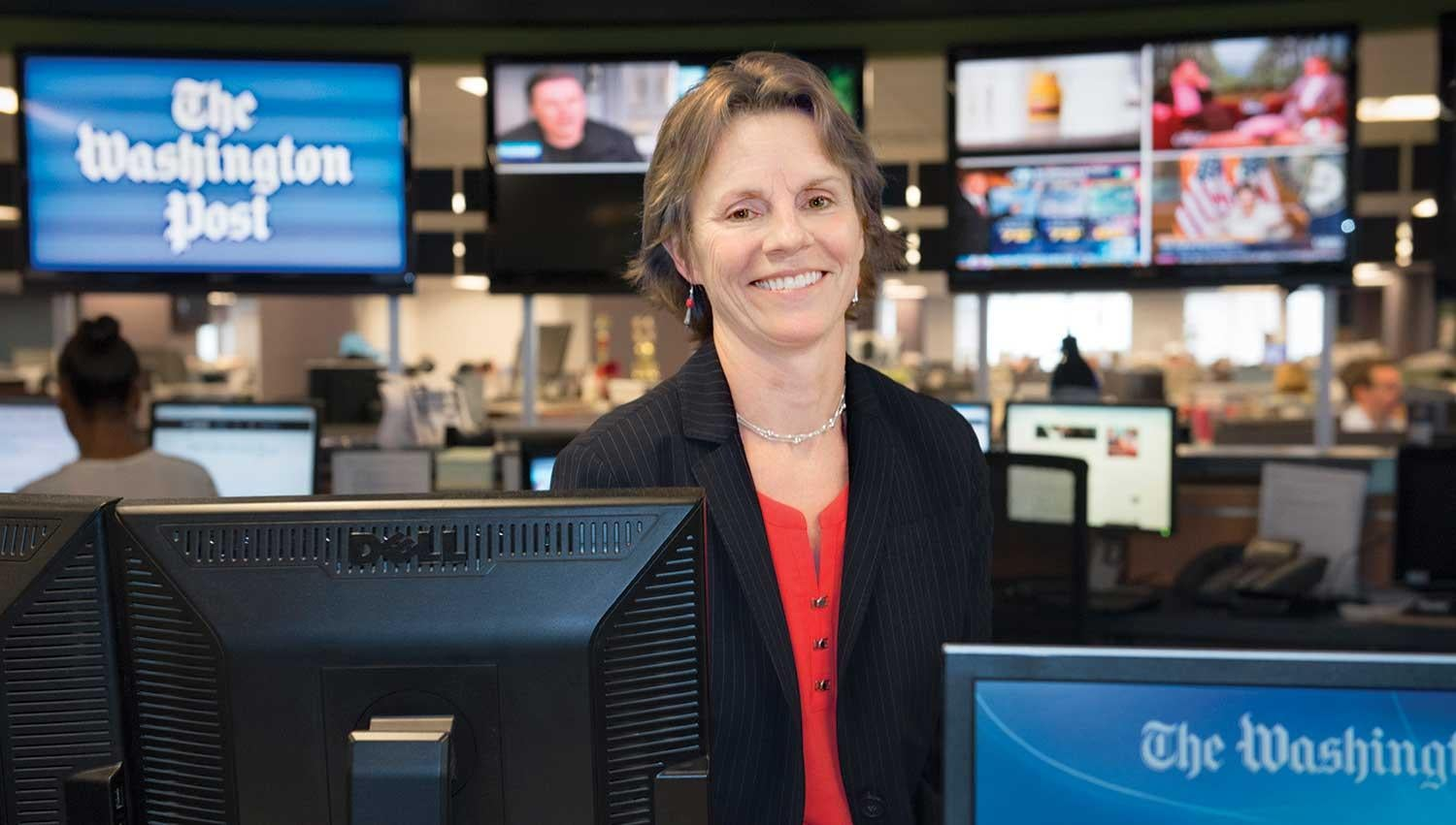 Barbara Vobejda sits in The Hub in The Washington Post's newsroom.